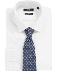 BOSS Italian-made Silk-blend Tie With Jacquard Pattern - Blue