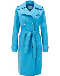 BOSS by Hugo Boss Throw-over-style Trench Coat In Water-repellent Twill - Blue