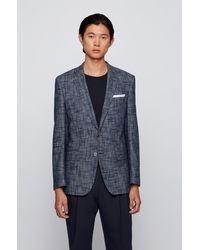 BOSS by HUGO BOSS Veste Slim Fit en coton mélangé avec carré de poche - Bleu