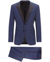 BOSS by Hugo Boss Slim Fit Tuxedo In Virgin Wool With Silk Trims - Blue