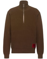 HUGO Jersey oversize fit de estilo militar con etiqueta de logo - Marrón
