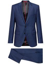 HUGO Regular-fit Suit In A Patterned Virgin-wool Blend - Blue