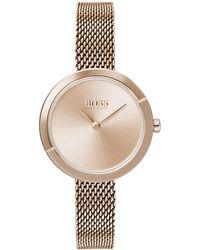 BOSS by HUGO BOSS Horloge Met Lichtgoudkleurige Coating En Een Slanke Polsband In Meshlook - Metallic