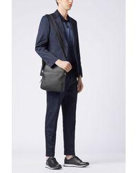 BOSS by HUGO BOSS Reporter Bag In Grained Italian Leather - Black