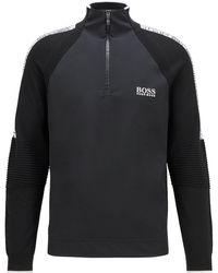 BOSS by HUGO BOSS Trui Van Stretchmateriaal Met Ritskraag En Vochtbeheersende Eigenschappen - Zwart
