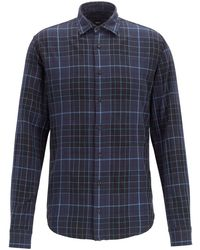 BOSS Checked Slim-fit Shirt In Heathered Cotton - Black