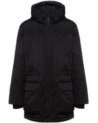 HUGO Water-repellent Sleeve-logo Coat With Down Filling - Black
