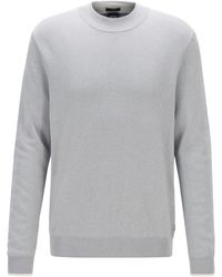 BOSS Mock-neck Sweater In Mouline Cotton With Contrast Details - Gray