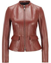 BOSS by HUGO BOSS Regular-fit Jacket In Nappa Leather With Peplum Hem - Brown