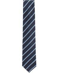 BOSS Italian-made Silk Tie With Diagonal Stripes - Blue