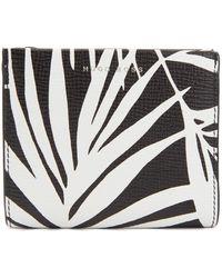 BOSS - Palm-leaf Print Wallet In Italian Calf Leather - Lyst