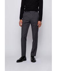 BOSS by HUGO BOSS Slim-fit Pants In Virgin-wool Serge - Gray