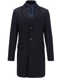 BOSS Slim-fit Coat With Detachable Inner Bib - Blue