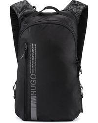 HUGO Sac à dos en nylon avec logo à message et imprimé peau de serpent - Noir