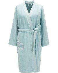 BOSS by Hugo Boss - Cotton Bathrobe With Embroidery - Lyst