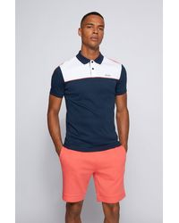 BOSS by HUGO BOSS Polo Slim Fit color block en coton - Bleu
