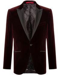 HUGO Giacca da sera slim fit in velluto - Rosso