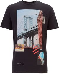 BOSS - Regular-fit T-shirt With Mixed Printing Techniques - Lyst