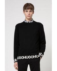 HUGO Pull Oversized Fit en coton mélangé avec logo à la base - Noir