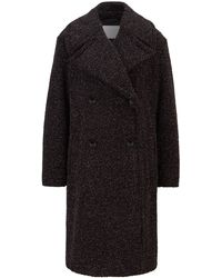 BOSS by HUGO BOSS Relaxed-fit Teddy Coat With Glitter Finish - Black