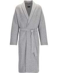 BOSS - Cotton Dressing Gown With Herringbone Structure - Lyst