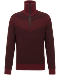 BOSS by Hugo Boss Knitted Sweater With V-shaped Intarsia And Reversible Zip - Red