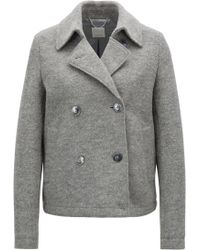 BOSS - Caban-style Coat In Virgin Wool With Detachable Belt - Lyst