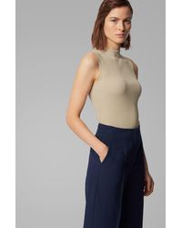 BOSS by Hugo Boss Slim Fit Ribbed Top In Stretch Yarn - Natural