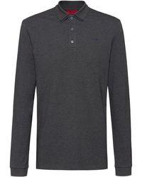 HUGO Cotton-piqué Polo Shirt With Reverse-logo Embroidery - Grey