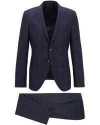 BOSS by HUGO BOSS Abito extra slim fit in serge di lana vergine a quadri - Blu