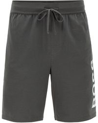 BOSS by Hugo Boss Pyjama Shorts In Stretch Cotton With Printed Logo - Grey