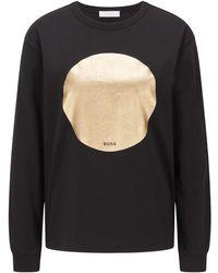 BOSS by HUGO BOSS Relaxed-fit Sweater Met Folieprint In Goudlook - Zwart