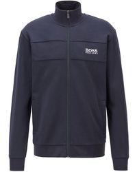 BOSS by HUGO BOSS Zip-up Jacket In A Lightweight Cotton Blend - Blue