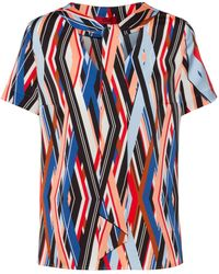 HUGO Tie-neck Top With Zigzag-stripe Print - Blue