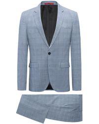 HUGO - Extra-slim-fit Suit In Glen-plaid Virgin Wool - Lyst
