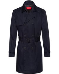 HUGO Slim-fit Trench Coat In Water-repellent Fabric - Blue