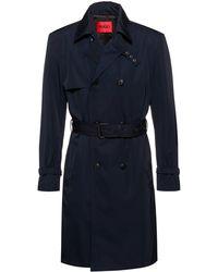 HUGO Water-repellent Regular-fit Trench Coat With Buckled Belt - Blue