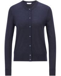 BOSS by HUGO BOSS Button-through Cardigan In Virgin Wool - Blue