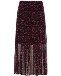 HUGO Midirock aus Plissee-Chiffon mit Kirschblüten-Print - Mehrfarbig