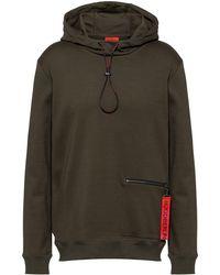 HUGO Interlock-cotton Hooded Sweatshirt With Zipped Pocket - Green