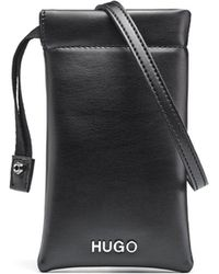 HUGO - Phone Case In Faux-leather With Chain-detail Strap - Lyst