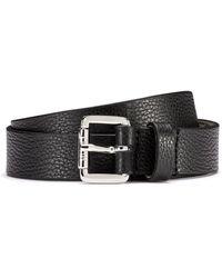 HUGO Grained-leather Belt With Logo-engraved Buckle - Black