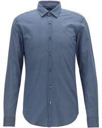 BOSS Slim-fit Shirt In Cotton Muslin With Bicycle Print - Blue