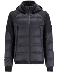 BOSS by Hugo Boss Water-repellent Down Jacket With Detachable Sleeves And Hood - Black
