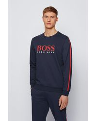 BOSS by HUGO BOSS Sweat en molleton à logo rayé et bandes contrastantes - Bleu