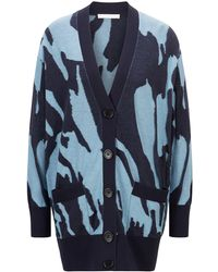 BOSS by HUGO BOSS Collection-pattern Oversized-fit Cardigan In Cotton And Silk - Blue