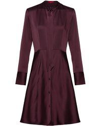 HUGO - Slim-fit Shirt Dress With Bow Neckline - Lyst