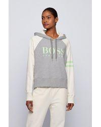 BOSS by HUGO BOSS Sweat à capuche oversize en coton biologique avec logo - Gris