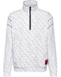 HUGO Unisex Quarter-zip Sweatshirt With Cubistic Logo Print - White