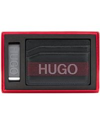 HUGO Gift-boxed Card Holder And Money Clip With Logo Details - Black